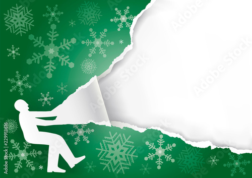 Man Ripping Christmas Paper Background Wallpaper Mural