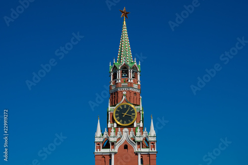 Spasskaya Tower (Saviour Tower) is the main tower on the eastern wall of the Moscow Kremlin which overlooks the Red Square. Moscow, Russia