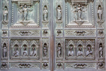 Incredible Detail In The Sculpture  On The Duomo Main Door In Florence, Tuscany