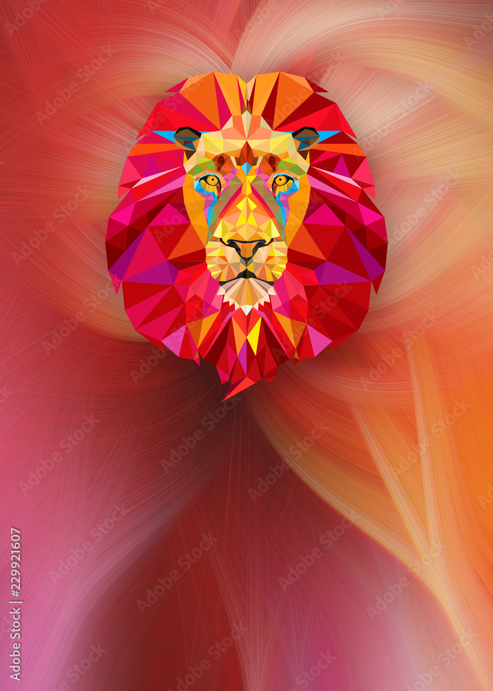 Lion head with geometric style onabstract background