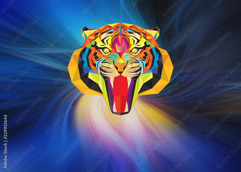 Tiger head with geometric style onabstract background