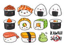 Hand Drawn Various Kawaii Sush...