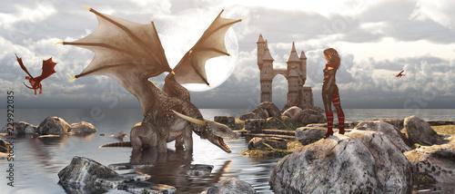Naklejka premium 3d Fantasy smok odpoczywa na wodzie z kobietą lub smoczym opiekunem zostaje na skale w mitycznej wyspie, fikcyjnym sztandarze i pomysłach