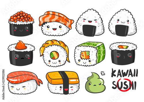 Photo  Hand drawn various kawaii sushi