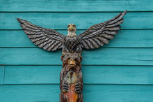Totem Pole With Bear And Eagle...