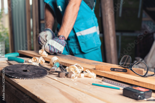 Carpenter S Home Workshop Woodworking Tools On The Table