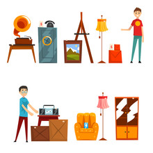 Garage Sale Set, People Buying And Selling Old Things Vector Illustration On A White Background