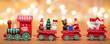Zug aus Holz in der Weihnachtszeit