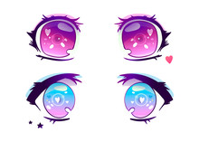 Hand Drawn Anime Eyes. Colored...