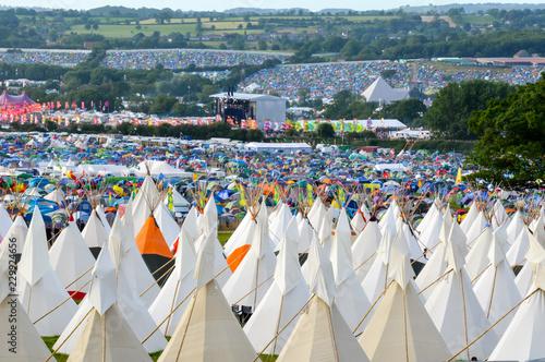 teepees at Glastonbury Festival