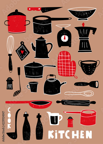 Hand drawn kitchen utensils Wallpaper Mural