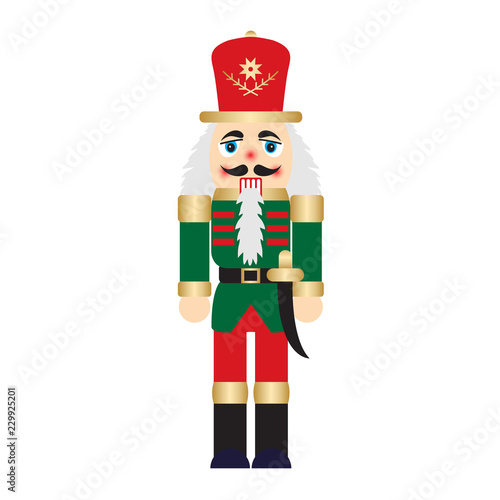 Fotografía Vector illustration christmas nutcracker toy soldier traditional figurine isolat