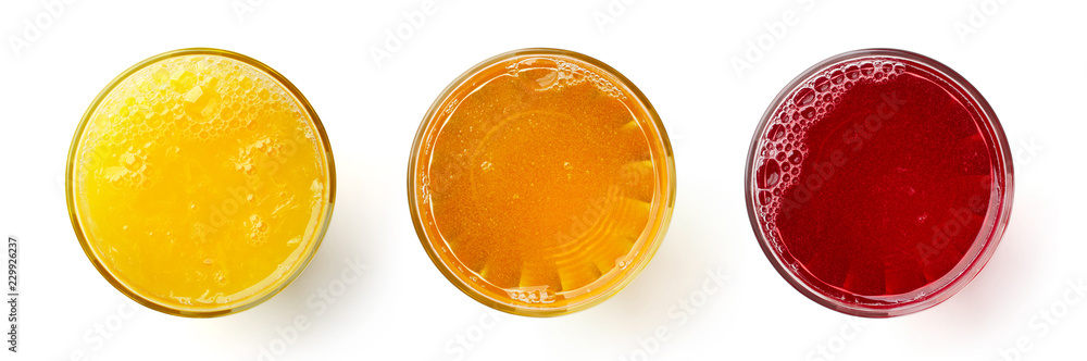 Fototapeta glass of fresh orange apple and cranberry juice isolated on white, from above