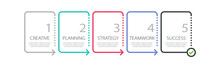 Thin Line Infographic Template With 5 Steps. Modern Business Concept Infographics With Options For Brochure, Diagram, Workflow, Timeline. Vector EPS 10