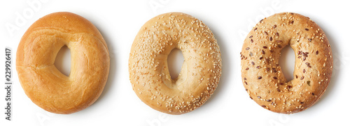 Fresh bagels on white background, from above Canvas Print