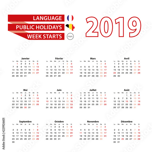 Fotografía  Calendar 2019 in French language with public holidays the country of Belgium in year 2019