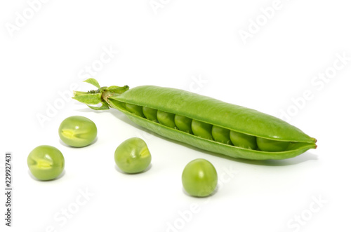 Green peas isolated on the white background
