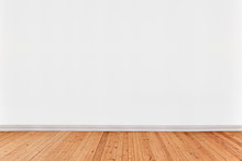 White Wall Background With Wooden Floor
