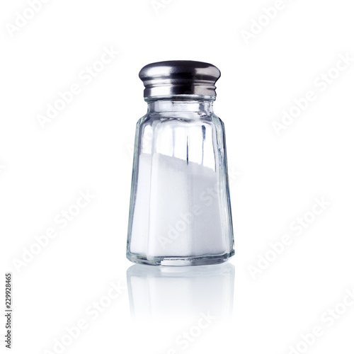 Foto op Plexiglas Kruiderij salt shaker, isolated on white