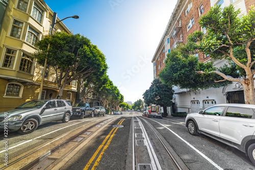 Foto op Plexiglas Amerikaanse Plekken Blue sky over a San Francisco street