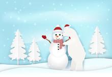 Polar Bear With Snowman In Win...