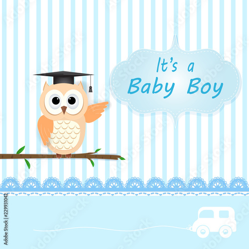 Deurstickers Uilen cartoon Baby boy shower card with Owl on blue. Happy Birthday card paper art style