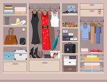 Wardrobe, Closet, Cupboard Vector Cartoon Illustration.