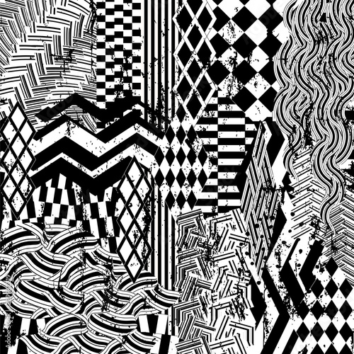 abstract geometric background composition, with stripes, triangles, waves, strokes and splashes, black and white