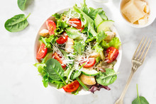 Tasty Fresh Salad With Chicken And Vegetables