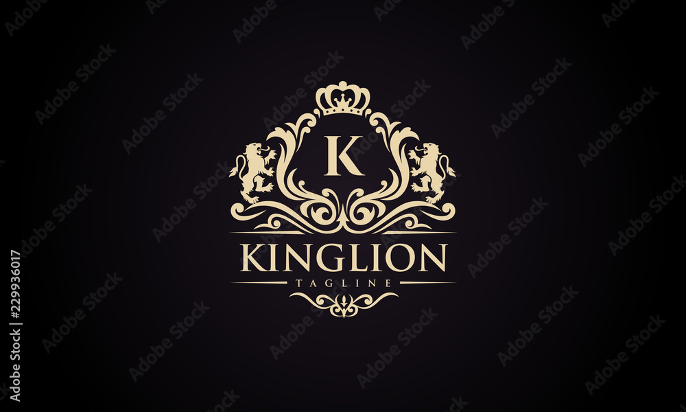 Fototapeta Luxury lion crest logo - royal lion vector template