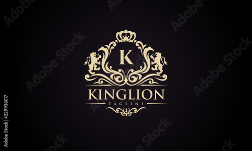 Fotografía Luxury lion crest logo - royal lion vector template