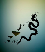 Young Man Catching The Fairy Dragon And Holding It On The Thread, Scene From The Fairytale In The Dreamland, Hero, Black And White,