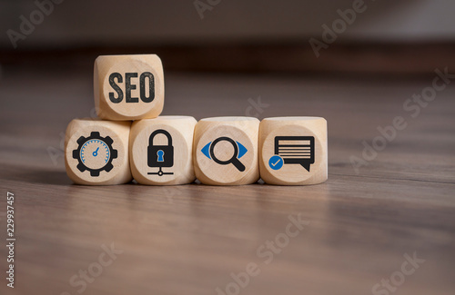 Würfel mit SEO Search Engine Optimization Onlinebusiness Onlinemarketing