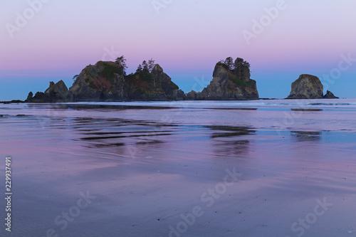 Foto op Aluminium Cathedral Cove Morning light on the sea stack at Shi Shi, Washington State