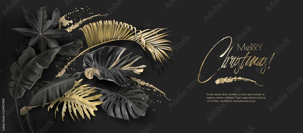Fototapeta Vector horizontal banner with tropical leaves and gold splashes on dark background. Exotic botanical design for Christmas greeting card, party invitation, holiday sales, poster, web page, packaging