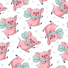 Seamless Pattern With Cute Cartoon Pigs