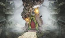 Fairy Tree House In Fantasy Rocks