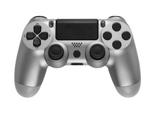 Silver Gaming Controller Isolated On White Background.