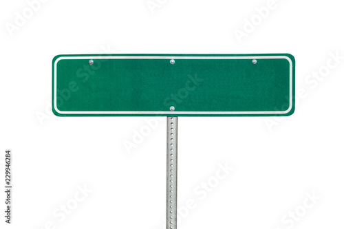 Fotografia Blank green directional arrow sign isolated on white.
