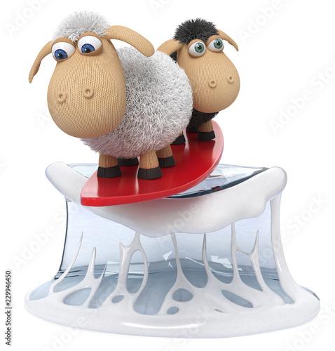 Fotografie, Obraz  3d illustration funny sheep surf/3d illustration farm animals with surfboard