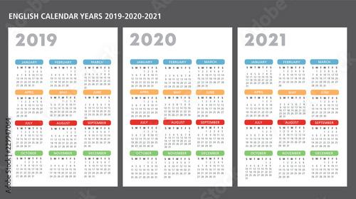 Fényképezés  English calendar 2019-2020-2021 vector template