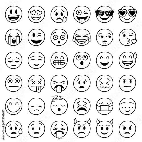 hand drawn vector emoticons