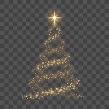 Christmas Tree On Transparent Background. Gold Christmas Tree As Symbol Of Happy New Year, Merry Christmas Holiday Celebration. Golden Light Decoration. Bright Shiny Design. Vector Illustration