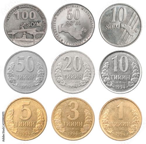 Fotografia  set of uzbek coins