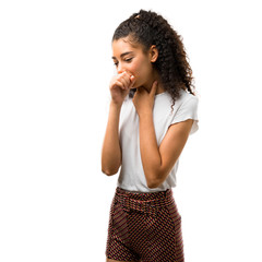 Fototapeta Young girl with curly hair is suffering with cough and feeling bad on white background