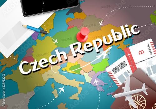 Photo  Czech Republic travel concept map background with planes, tickets