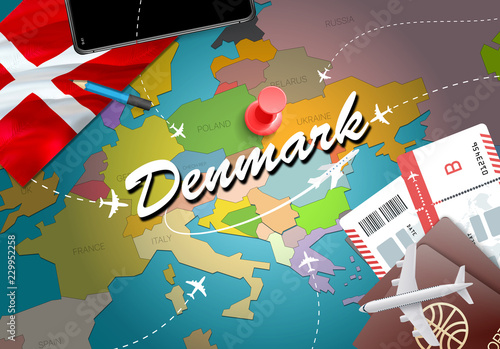 Photo  Denmark travel concept map background with planes, tickets