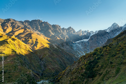 Foto op Aluminium Blauw Landscape view of Caucasus mountains