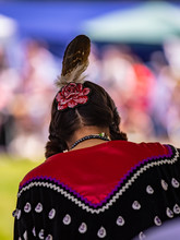 Native American Woman In A Traditional Dress At Pow Wow Festival