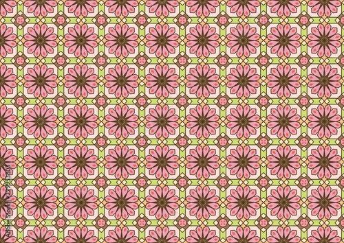 抽象的な花柄パターン-ピンクと黄緑